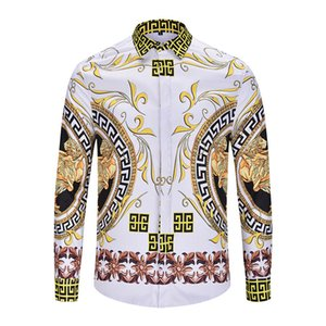 Top 2019 Spring and autumn Harajuku Medusa gold chain Dog Rose print shirts Fashion Retro floral sweater Men long sleeve tops shirts on Sale