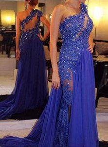 Royal Blue 2018 Prom Gowns One Shoulder Lace Appliques Beads Illusion Chiffon Long Party Pageant Dresses Evening Wear ME081 on Sale