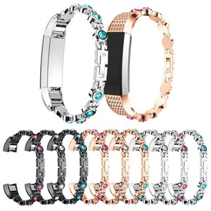 Wholesale Crystal Watch Band Silver Stainless Steel Chain For Alta hr Fashion Replaceable Metal Wrist Band Smart Bracelet Straps