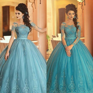 Wholesale Prom Dresses 2019 Evening Gowns Sexy Sheer Neck Arabic Dubai Long Sleeve Formal Occasion Gowns Full Lace Top Sexy Backless