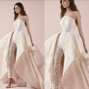 Wholesale High Quality Designer Wedding Dress Lace Strapless Appliqued Wedding Dresses Custom Made Long Women Jumpsuits