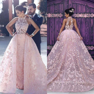Wholesale Newest Arabic Evening Dresses Appliques Blush Pink High Neck Long Prom Celebrity Party Gowns with Detachable Train BA6403