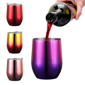 Wholesale Rainbow oz Egg shaped Cups Wine Glass Stainless steel tumbler Stemless Double water bottle Coffee Mugs with Clear Lids