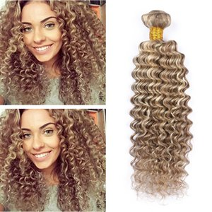 New Arrival 9A Piano Color Two Tone 8 613 Brown Blonde Highlight Ombre Brazilian Deep Wave Curly Virgin Human Hair Weave Weft Extensions