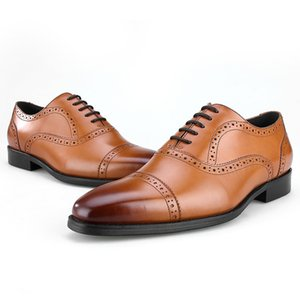 Wholesale Breathable Black Brown Blue Red Oxfords Business Shoes Genuine Leather Wedding Shoes Mens Dress Fashion Office