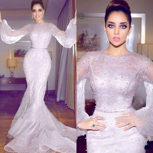 2019 Newest Arabic Mermaid Formal Dresses Evening Wear Long Sleeve Full Lace Pearls Prom Gowns Plus Size Prom Dresses Long on Sale