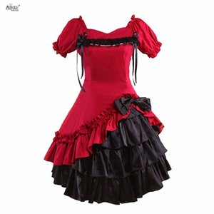 Wholesale Ainclu Lolita Dress Womens Sweet Dark Red Cotton Short Sleeves Lolita Style Gothic Girls Party Dress XS XXL