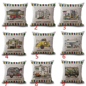 Wholesale Happy Campers Motor Home Pillow Case Cushion Cover Linen Cotton Throw Pillowcases Sofa Car Decorative Pillowcover Free DHL 21