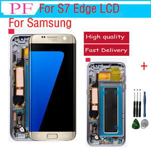 Original LCD For Samsung S7 Edge LCD Touch Screen + Frame Digitizer Display Assembly Replacement Parts For G935A G935F G935P DHL Free