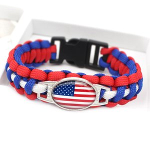 12PCS Wholesale Popular World Cup Weven Paracord Bracelets German Brazil Argentina France American Canada Flag Charm Bracelets