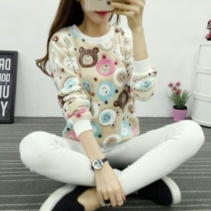 Wholesale Cute Teddy Bear Harajuku Christmas Fleece Sweater Womens Sweaters Fashion Winter Lined Wool Sweater Cashmere Knitted