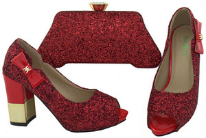 Wholesale Nice looking red women pumps with rhinestones heel CM african shoes match handbag set for dress BCH A