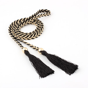 Wholesale Winfox Fashion Thin Braided Tassels Belt for Women Tie Bead Rope Knotted Belts Lady Waistband Dress Belt