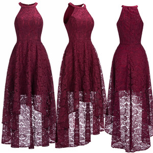 Wholesale halter lace high low formal dress resale online - Sexy Halter Cheap Burgundy Lace Evening Dresses Halter Sleeveless High Low Designer Formal Occasion Wear Christmas Party Gown CPS1151