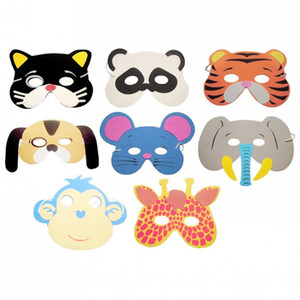 Wholesale zoo animals resale online - halloween Random Creative Animal Masks Birthday Party Supplies Popular Zoo Jungle Party Dress Up Children Kids EVA Foam Cartoon