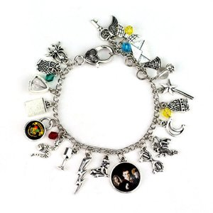 Wholesale Bracelet Harry Ancient Silver Collection Bracelet Bangle Cuff Wristband with Golden Snitch Deathly Hallows Glass Charms Potter Jewelry