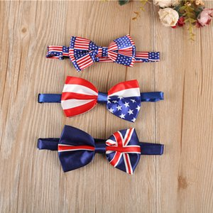 Wholesale men bow tie American Flag necktie USA Union Jack British flag bow tie Australian neck tie designs in stock fast shipment
