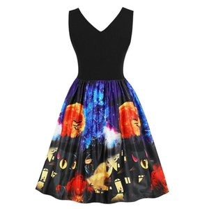 Wholesale Women Ladies Sleeveless Vintage Pumpkins Halloween Evening Prom Costume Swing Dress Halloween Party Fast Sending Drop Ship l821