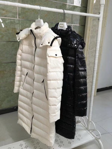 Wholesale woman s French popular brand down jacket long hooded white duck down coat anorak hooded parkas witer Outerwear high quality