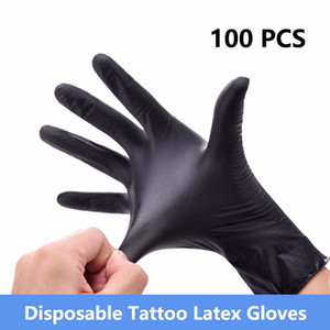 Wholesale 100 High Quality Tattoo Body Art Black Disposable Tattoo Latex Gloves Available Size Accessories Tattoo