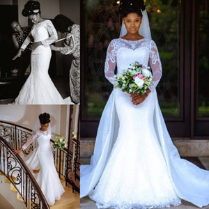 Wholesale South African Arabic Vintage Sheer Long Sleeves Lace Mermaid Wedding Dresses with Detachable Skirt Bridal Gowns Custom Made