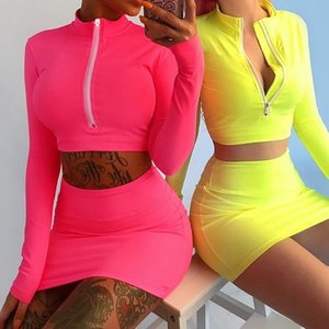 Wholesale Fluorescent Long Sleeve Suits High Neck Zipper Bodycon Crop Tops Mini Skirt Pieces Sets Autumn Winter Women Fashion Solid Clothing