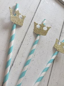 Wholesale Christmas Blue Straws Prince Crown Party Decorations First Birthday Party Boy Drinking Straws Kids Birthday