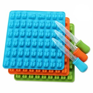 Wholesale 4 Color Cavity Silicone Gummy Bear Chocolate Mold Candy Maker Ice cube Tray Jelly Moulds with free dropper B