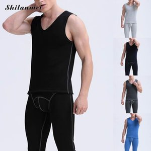Wholesale 2017 Winter Thermal Underwear Sets For Men Black Blue Elastic Long Johns Gray Knitted Warm Sexy Brand Men s Pants and Vest Suit