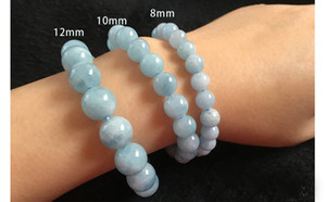 Wholesale 10mm Stretch Bracelet Bangle Elastic natural stone expandable fashion jewelry created beads round ball light blue Crystal trendy