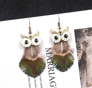 Wholesale Owl Pendant earring peacock Feather Long Earrings boho metal earstud American european style