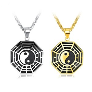 Wholesale gold chi resale online - Silver Gold Black Color Fashion Men s Tai Chi Diagram Pendant Necklace Stainless Steel Link Chain Necklace Jewelry Gift for Men Boys
