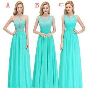 Wholesale 2019 Cheap Country Style Turquoise Bridesmaid Dresses Custom Made Lace Chiffon Long Formal Wedding Guest Party Gowns BM0052