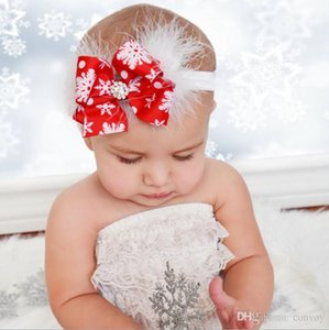 Wholesale Baby Girls Christmas Headbands Bow Feather Boutique Children Hair Accessories Kids Elastic Grosgrain Ribbon Hairbands KHA576