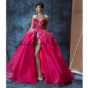 Gorgeous Hot Pink Prom Pageant Dresses with Overskirt 2018 Fuchsia 3D Floral Crystal Puffy Split Mask Party Evening Wear Gowns