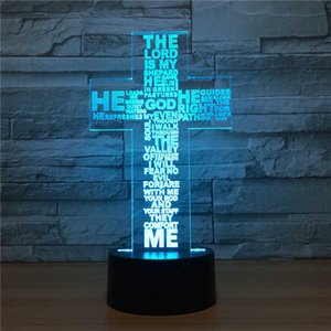 Wholesale Love Gift D cross Gradient Night Light Touch Control Stereo Colored Acrylic Light Energy Night Lamp Table Lights
