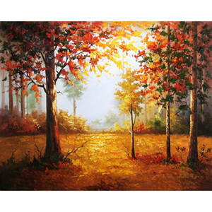 Wholesale Frameless Landscape Forest Diy Digital Painting By Numbers Kits Hand Painted Oil Painting For Home Wall Art Picture x50cm Arts