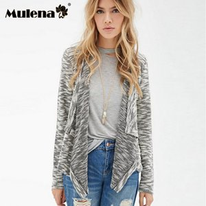 Wholesale Mulena solid zebra stripe lace appliques in back open stitch sweater coats women irregular neck full sleeve elastic Sweater fall