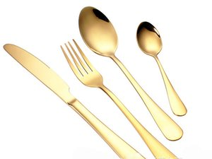 Wholesale High grade gold cutlery flatware set spoon fork knife tea spoon stainless steel dinnerware set kitchen utensil