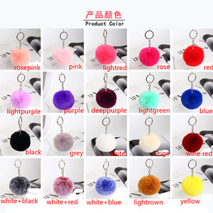 Wholesale 20 Colours Fashion Accessories cm Rabbit Fur Ball Plush Keychain Round Ball Fluffy Toy Keychain Hairy Car Keyring Bag Pendant Keychain Gift