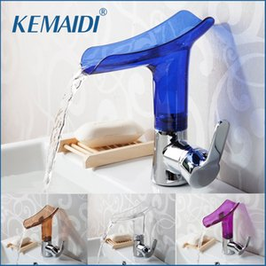 Wholesale KEMAIDI Basin Faucets New Design Waterfall Bathroom Faucet Single Handle Basin Mixer Tap Bath Faucet Solid Acrylic Chrome Crane
