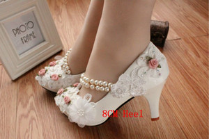 Cute Kitten Heels Bridal Shoes White Ankle Strap Rose Flower Pearls Wedding Shoes 2018 Cheap Low Heel Ladies Shoes