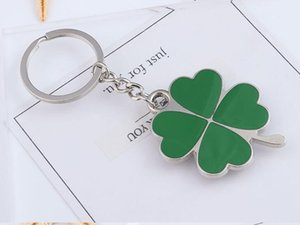 Wholesale Green Leaf Keychain Fashion Creative Beautiful Four Leaf Clover Lover Lucky Key Chain Jewelry Keyring Valentine s Day Gift