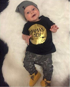 Wholesale 2017 Summer Baby boy clothing sets Newborn Toddler Infant Casual T shirt Top Long pants Outfits set Gold Mamas Boy print