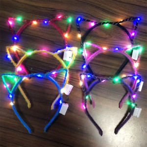 Wholesale led Cat Ears LED Headbands Party Light Up Flashing Blinking Party Wear Christmas Hair Accessories Glow Party Supplies jc