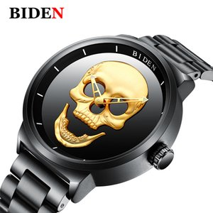 человек панк часы  оптовых-Biden Men Watches Top Skull Black Quartz Watch Men Stainless Steel Punk Elegant Waterproof Clock Man Wristwatch