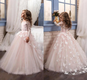 2018 Pink Lace Long Sleeves Ball Gown Flower Girls Dresses Full Butterfly Kids Pageant Gowns Little Girl Birthday Party Dresses on Sale