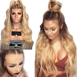 Top Quality Body Wave 26 inches Blonde Wig Glueless Synthetic Lace Front Wig With Baby Hair Heat Resistant Ombre Wigs For Black women