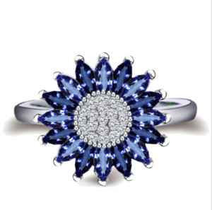 Wholesale sunflowers ring resale online - 2018 Vintage Fashion Jewelry Silver Fill Marquise Blue Sapphire CZ Diamond Claw Sunflower Eternity Wedding Band Ring for Women Gift