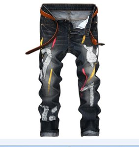 Wholesale Unique Men's Fashion Ripped Painting Jeans Designer Slim Fit Straight Leg Denim fat man Pants Big size 28-42 JB165